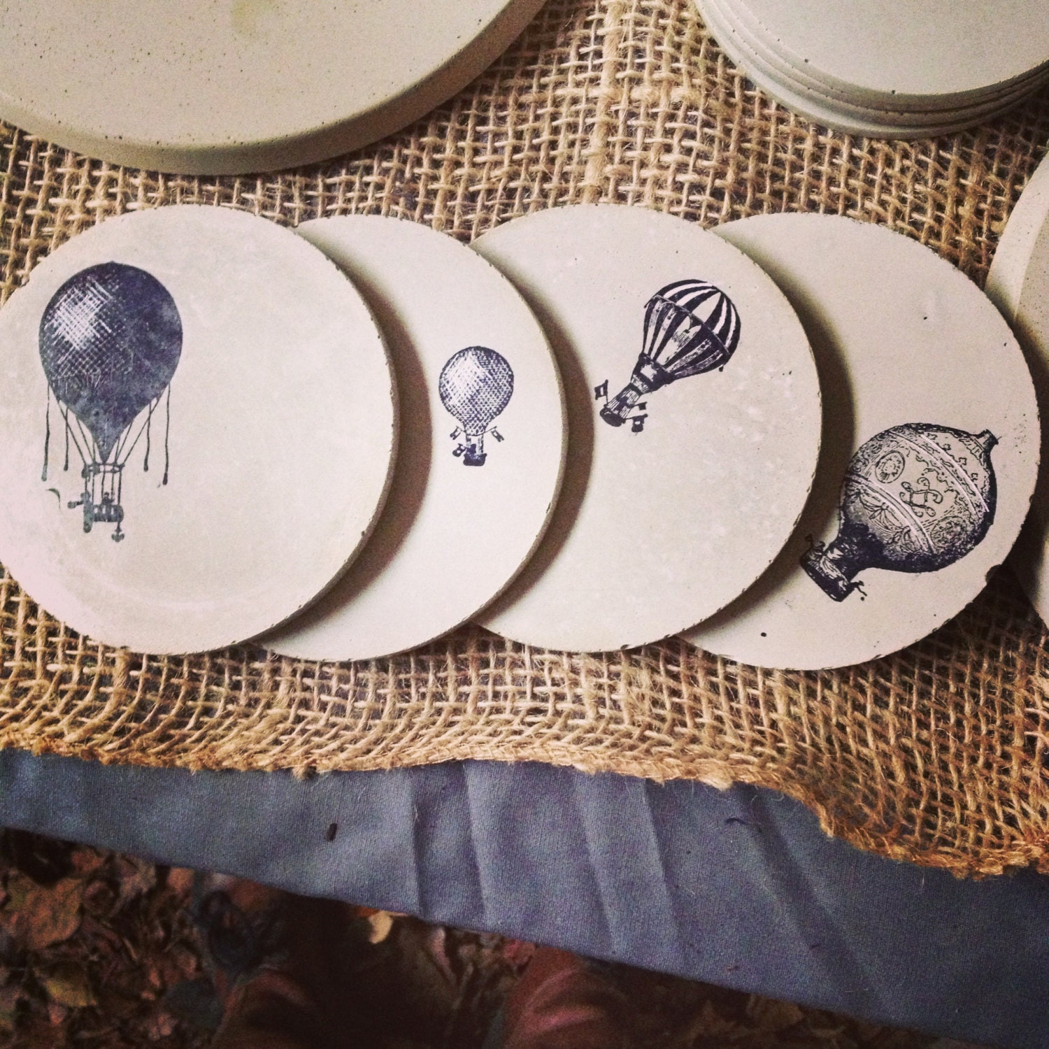 Concrete coasters hot air balloon series wedding gift for How to make concrete coasters