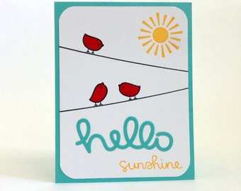 Hello Sunshine Card - Thinking of You Card - Hello Card - Long Distance Relationship Card - Just Because Card - Miss You Card - Cute Card