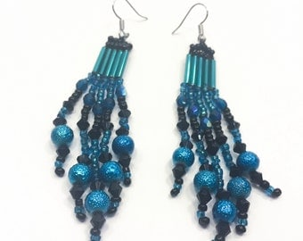 Teal and Black Beaded Earrings