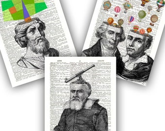 Science art, Educational fantasy Prints, Montgolfier brothers, Galileo Galilei, Pythagoras, Balloon art, Math art, Astronomy art, Scientists