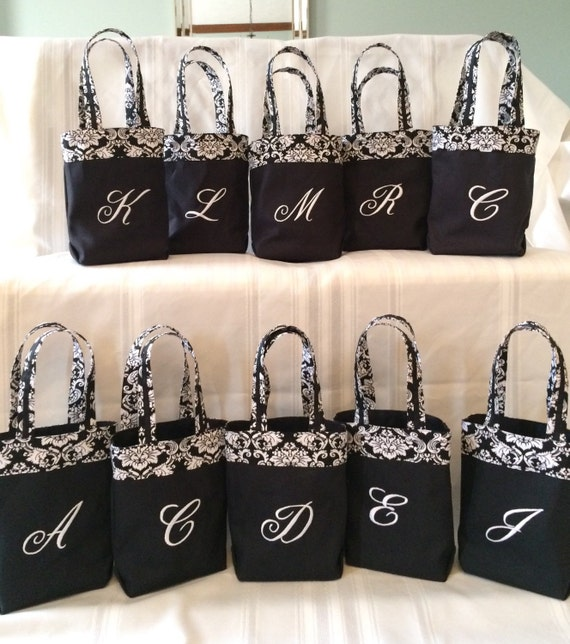 Monogrammed Embroidered black and white hostess gift wine mini tote bridesmaid bag