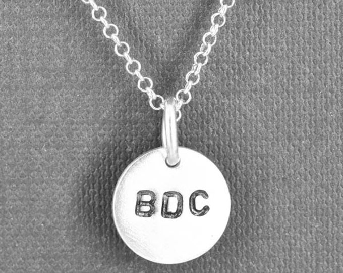 Personalized hand stamped necklace, sterling silver necklace, name necklace, initial necklace, custom engrave necklace, pendant