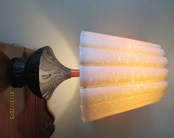 Vintage Jo-Wallis Black Lamp with Original Vellum Shade with a Starburst Pattern