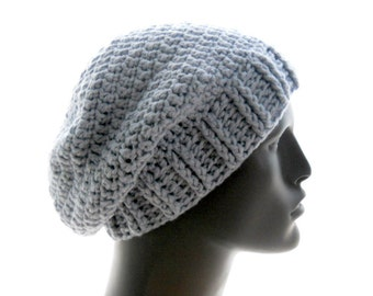 Men's Upcycled Wool - Blend Crochet Slouchy Beanie in Stonewash Blue, Large to Extra Large Size