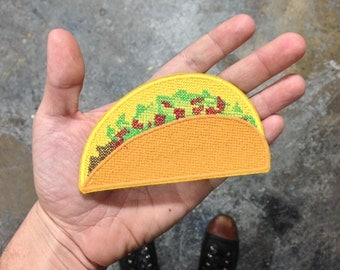 CRUNCHY Taco Patch / Embroidered Patch / Badge / Life-Size / Cross-stitch