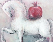 Original oil painting on canvas GREY HORSE with POMEGRANATE by Elisaveta Sivas, 39 x 47'