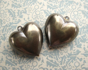 21x22mm Brass Ox Puffed Heart Charms Hollow New American Made (2)