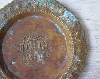 Vintage Brass Plate Jungalow Decor, Trinket Dish Ring Plate Etched, Verdigris Brass Plate Israel Memorabilia Ethnic Decor Patina Brass Plate