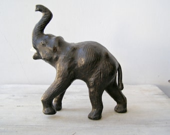African Black Elephant Figurine, Wood Paper Elephant Big Sculpture, Tribal Primitive Decor, Jungle Wildlife Safari Decor, Man Cave Gift