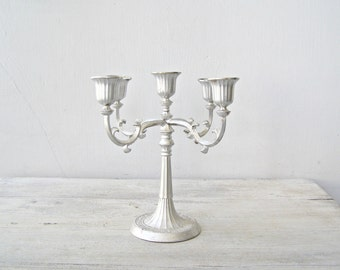 Vintage Candelabra Art Nouveau Decor, Silverplate 5 arm Candelabra Mid Century Wedding Table, Victorian Country Living Room Decor Photo Prop