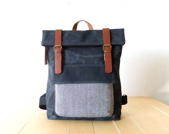 """Waxed Canvas Backpack in Black - Father Days Gift - Tweed Pocket - Leather Accessories - 15"""" Laptop - Waterproof Bag"""