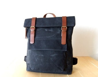 "Waxed Canvas Backpack in Black, Gift for Dad, Fathers Day Gift, Zippered Foldover Closure  Leather Accessories - 15"" Laptop - Waterproof Bag"