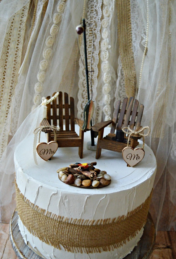 Fishing Lake House Cabin Themed Wedding Cake By