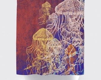 Red Jellyfish Shower Curtain: Nautical Sealife Water Inspired | Made in the USA | 12 Hole Fabric Bathroom Decor