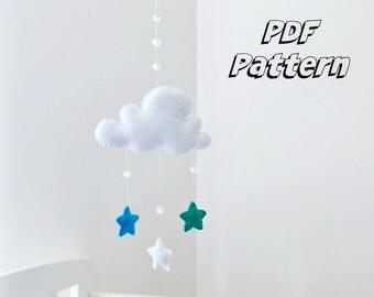 DIY MOBILE PATTERN: Felt star cloud mobile e-pattern - Instant download - Full instructions