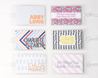 Luggage Tags Bachelorette Party Favors Personalized Custom Bag Tags Travel Gifts Beach Trip Monogram Stripe Modern Design Diaper Bag Tags
