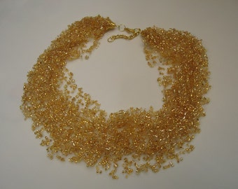 Free Shipping!!! Handmade. Multistrand Air Necklace. Jewelry Bead Crochet Necklace. Golden Color. #32