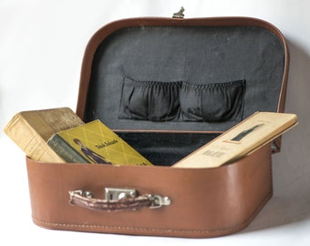 Vintage suitcase, brown case, school briefcase rare, 50s case faux leather, USSR home décor case