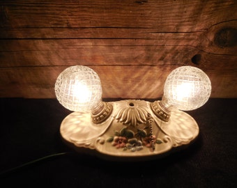 1940's Double Light wall/ceiling porcelain fixture with textured bulbs