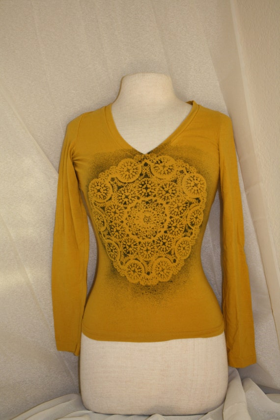 Upcycled mustard yellow long sleeve v neck by for Mustard stain on white shirt