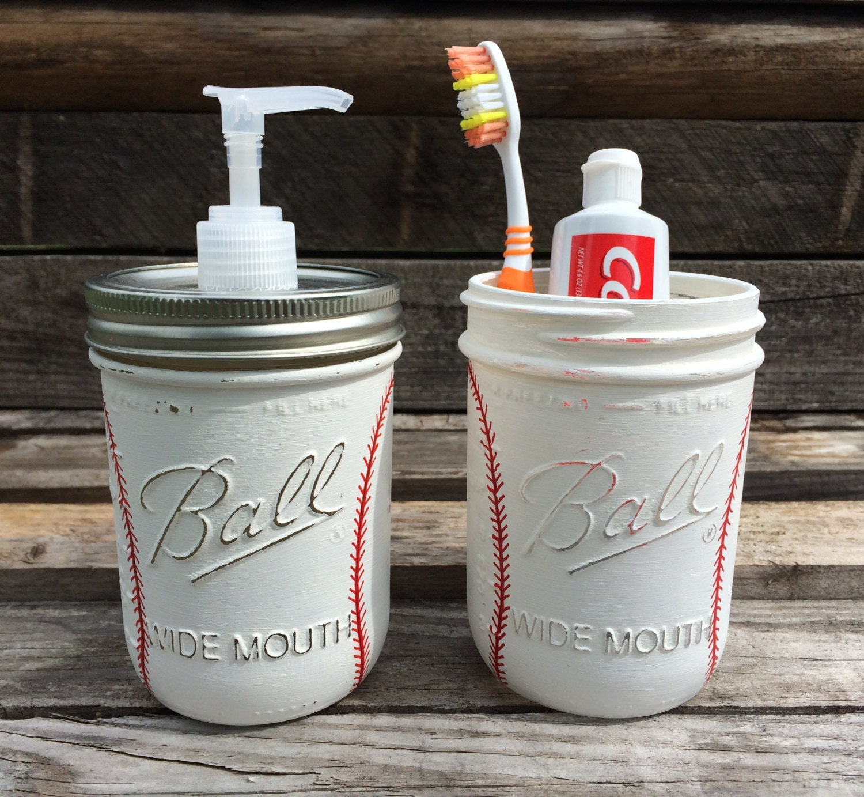 Sports Bathroom Accessories Hand Painted Baseball Soap Dispenser Baseball Bathroom Set