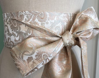 Blush wedding sash, pale obi belt, paisley asian brocade bridal belt, waist cincher, engagement sash obi