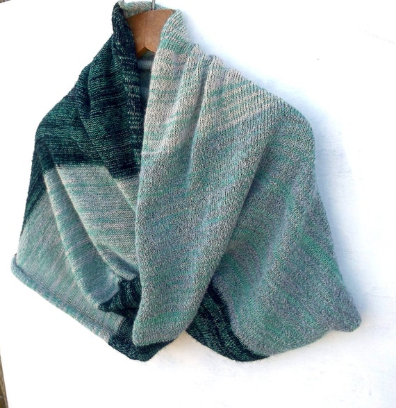 Knitting Pattern Cotton Scarf : Items similar to Knitted mohair cotton cowl scarf green black gray infinity s...