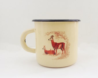 VINTAGE enamel CUP with deer, use fror kitchen and home decor.
