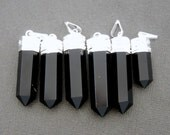Black Obsidian Pendant Silver plated Bail-- Pencil Point Pendant  (S27B18-03)