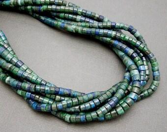 Azurite Beads-- Azurite 6mm x 4mm Tube Beads -- 1 STRAND  (S49B1-03)