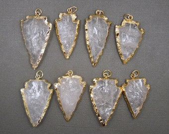 Crystal Arrowhead Arrow Head Pendant Charm Electroplated in 24k gold BULK LOTS OF 1, 3, 5, 10, and 25 (S77B8)