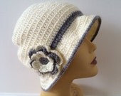 Off White Cloche Hat With Gray Brim, Usa Seller