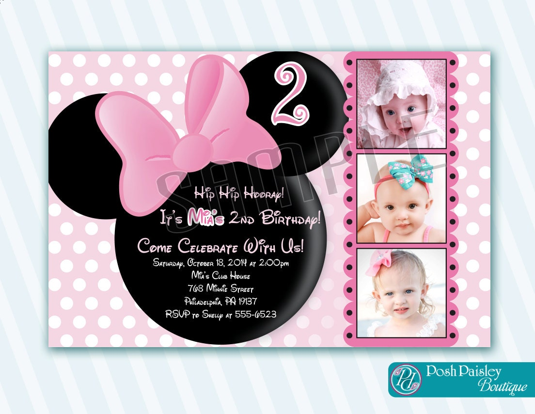 minnie mouse invitation minnie mouse by poshpaisleyboutique. Black Bedroom Furniture Sets. Home Design Ideas