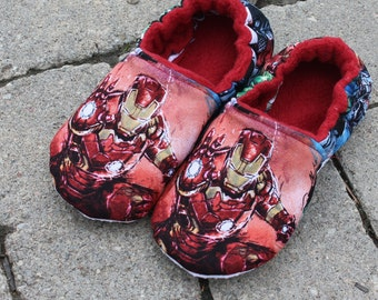 Avengers/ Super Hero Slippers/  Non-Skid Sole, made with Avengers, Marvel Comic Fabric, Iron Man, Hulk, Captain America or Thor