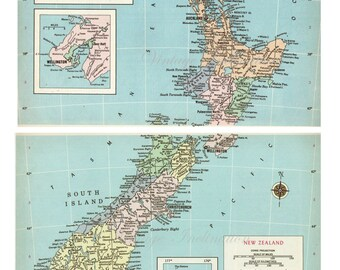 1960s Antique large Vintage NEW ZEALAND original colored map pastel blue ocean for framing