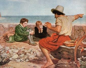 Antique Print, Millais Raleigh Boyhood 1920 wall art vintage color lithograph illustration painting