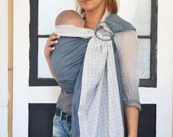 Baby Ring Sling Carrier Reversible  2 Layers Cotton & Denim. Momma Love Baby Sling. Baby Carrier W. DVD