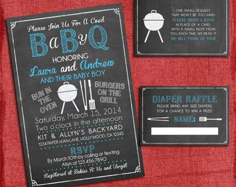 Printable Boy Baby Q Barbecue Shower Invitation Set -Invite + Diaper Raffle Ticket + Book Request  - Chalkboard Style - I design you print