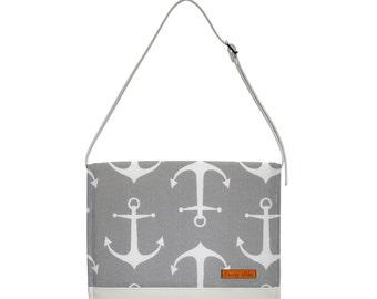 FOXY VIDA Vegan Leather Diaper Clutch SET w/ interior wet bag in Gray Anchors