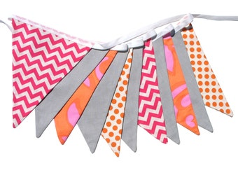 Hot Pink Chevron, Orange Dots and Grey Flag Bunting. On Trend - Neon Brights Party, Celebrations Banner Home Decoration.