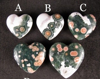 YOU CHOOSE 1 - Ocean Jasper Heart, 1 piece ETOJ315 - abcde