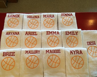 Basketball, personalized, basketball towels, with one name, terry velour