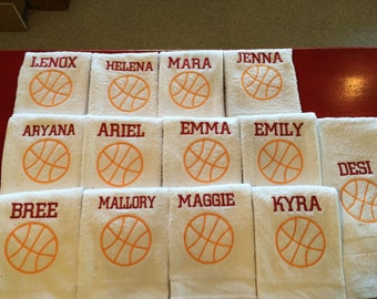 personalized basketball white  towels with one name, terry velour
