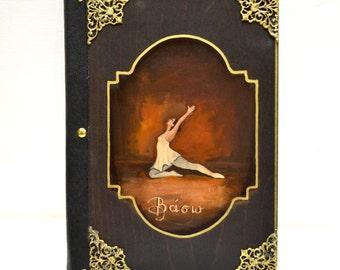 Girls ballet, leather bound, rustic guest book, leather diary, art sketch book, handbound journal, dance teacher, ballet class, dance class