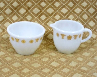 Creamer and Sugar Butterfly Gold Pyrex Corning Ware Vintage White Gold Retro 1970