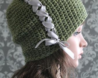 Crochet PATTERN - Ribbon Crochet Hat Pattern - Slouchy Hat Crochet Pattern - Baby Crochet Pattern - Baby Toddler Kids Adult Sizes - PDF 336