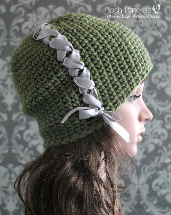 Crochet Baby Hat With Ribbon Pattern : Crochet PATTERN Ribbon Crochet Hat Pattern Slouchy Hat
