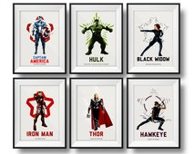 Set of six Marvel DC Comics Avengers Superhero Art, Superhero Print, Superhero Poster, ART illustration, The Avengers, Superhero wall art.