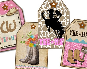 Western, Southwestern gift Tags, Digital Download, Printable Country Gift Tags, Boots, DIY Birthday Party Tags, Yee Haw, Horse Shoes