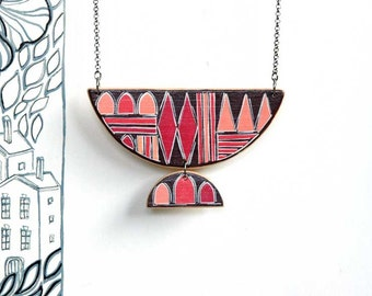 Statement Necklace  Geometric Necklace Contemporary Red and Coral Necklace